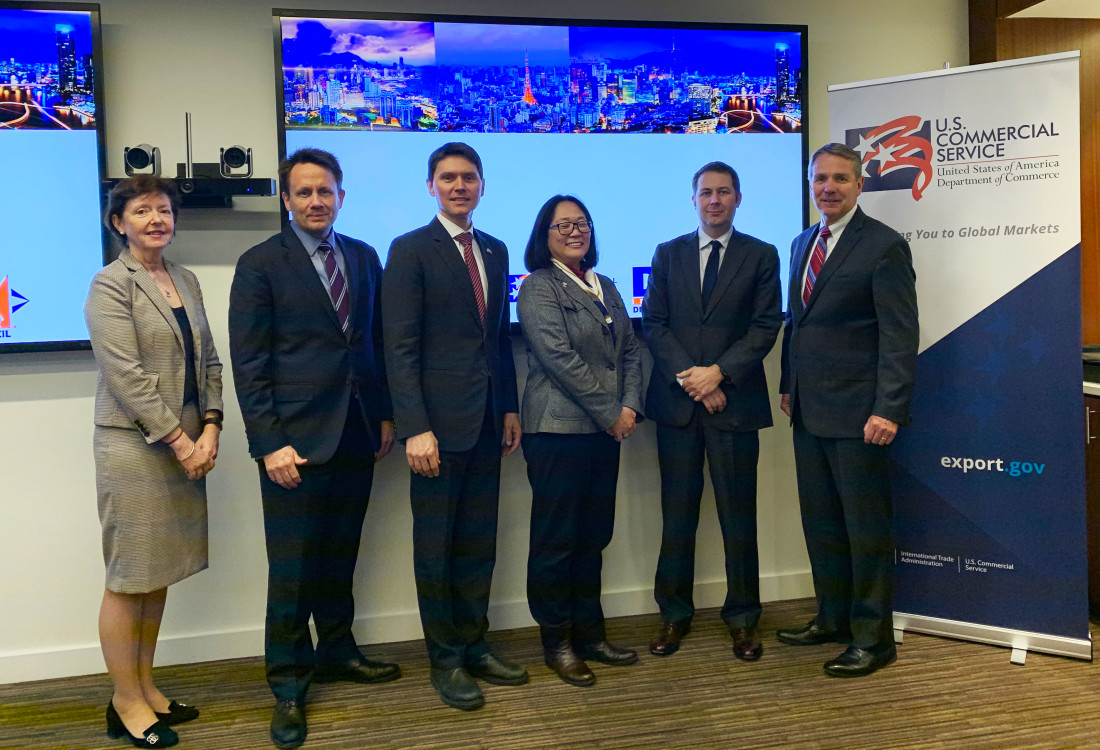Partner Gary Biehn (far right) with Commercial Officers (L-R: Molly Costa, Director, Office of Asia; John Breidenstine, Minister Counselor for Commercial Affairs and ASEAN Regional Senior Commercial Officer, U.S. Embassy Bangkok, Thailand; Doug Jacobson, Principal Commercial Officer, U.S. Consulate Ho Chi Minh City, Vietnam; Arlene Mayeda, Commercial Officer, U.S. Embassy Tokyo, Japan; and Richard Pearson, Commercial Officer, Office of Asia